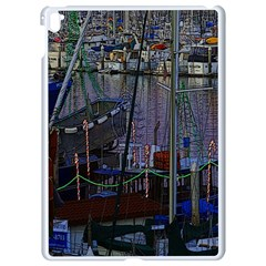 Christmas Boats In Harbor Apple Ipad Pro 9 7   White Seamless Case