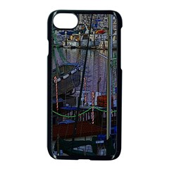 Christmas Boats In Harbor Apple Iphone 8 Seamless Case (black)