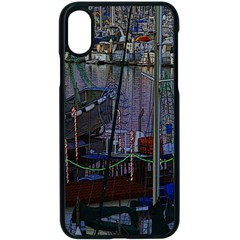 Christmas Boats In Harbor Apple Iphone X Seamless Case (black)