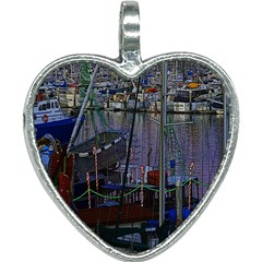 Christmas Boats In Harbor Heart Necklace