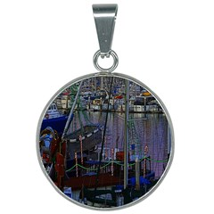 Christmas Boats In Harbor 25mm Round Necklace