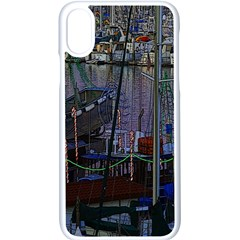 Christmas Boats In Harbor Apple Iphone Xs Seamless Case (white)