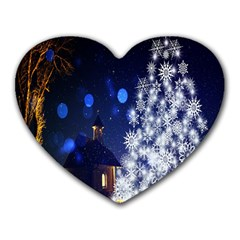 Christmas Card Christmas Atmosphere Heart Mousepads by Wegoenart