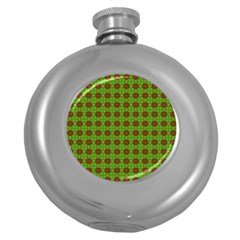 Christmas Paper Wrapping Patterns Round Hip Flask (5 Oz)