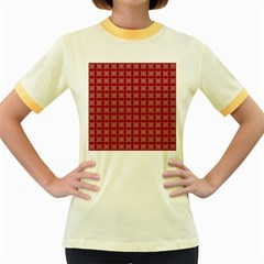 Christmas Paper Pattern Women s Fitted Ringer T Shirt