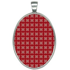 Christmas Paper Pattern Oval Necklace