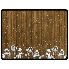Christmas Snowmen Rustic Snow Fleece Blanket (large)