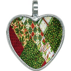 Christmas Quilt Background Heart Necklace