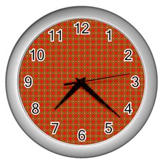 Christmas Paper Wrapping Paper Pattern Wall Clock (silver) by Wegoenart