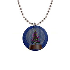 Christmas  Snow 1  Button Necklace