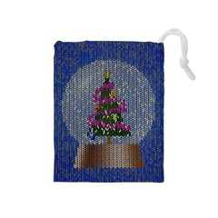 Christmas  Snow Drawstring Pouch (medium) by Wegoenart