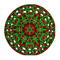 Christmas Kaleidoscope Pattern Round Filigree Ornament (two Sides)