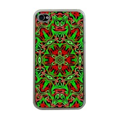 Christmas Kaleidoscope Pattern Apple Iphone 4 Case (clear) by Wegoenart