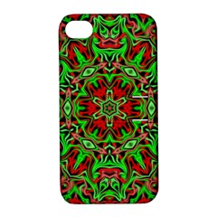 Christmas Kaleidoscope Pattern Apple Iphone 4/4s Hardshell Case With Stand