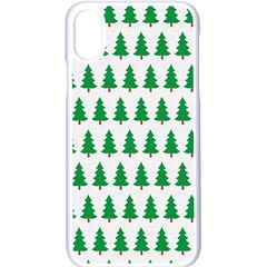 Christmas Background Christmas Tree Apple Iphone X Seamless Case (white) by Wegoenart
