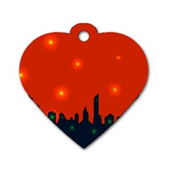 City Light Night Lights Evening Dog Tag Heart (two Sides)