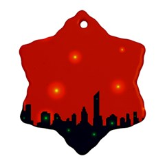 City Light Night Lights Evening Snowflake Ornament (two Sides)