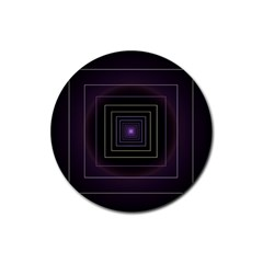 Fractal Square Modern Purple Rubber Coaster (round)