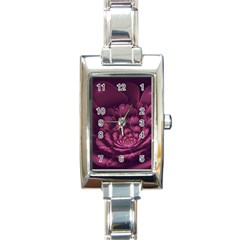 Fractal Blossom Flower Bloom Rectangle Italian Charm Watch