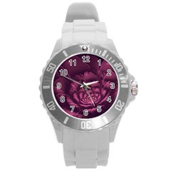 Fractal Blossom Flower Bloom Round Plastic Sport Watch (l)