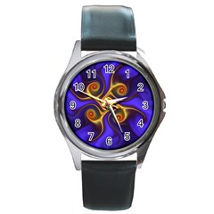 Fractal Neon Blue Bright Fantasy Round Metal Watch