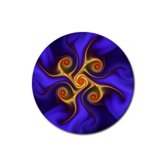 Fractal Neon Blue Bright Fantasy Rubber Round Coaster (4 Pack)
