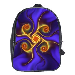 Fractal Neon Blue Bright Fantasy School Bag (large)