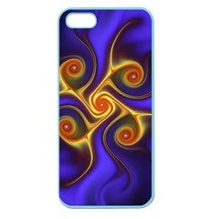 Fractal Neon Blue Bright Fantasy Apple Seamless Iphone 5 Case (color)