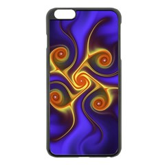 Fractal Neon Blue Bright Fantasy Apple Iphone 6 Plus/6s Plus Black Enamel Case