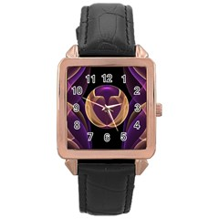 Fractal Glass Ball Bright Sphere Rose Gold Leather Watch