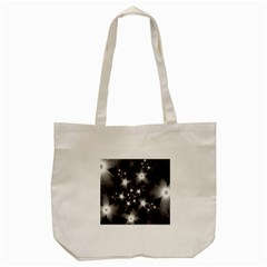 Black And White Floral Fractal Tote Bag (cream) by Wegoenart