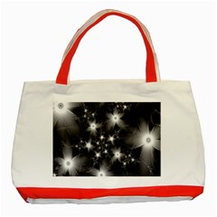 Black And White Floral Fractal Classic Tote Bag (red)