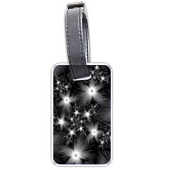 Black And White Floral Fractal Luggage Tags (one Side)