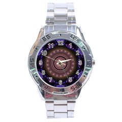 Fractal Neon Blue Energy Fantasy Stainless Steel Analogue Watch