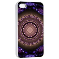Fractal Neon Blue Energy Fantasy Apple Iphone 4/4s Seamless Case (white)
