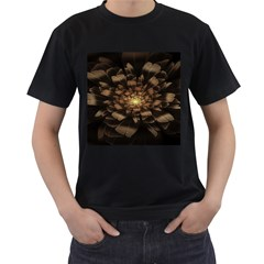 Fractal Flower Floral Bloom Brown Men s T Shirt (black) (two Sided)
