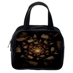 Fractal Flower Floral Bloom Brown Classic Handbag (one Side)