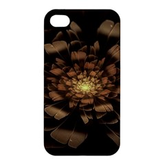 Fractal Flower Floral Bloom Brown Apple Iphone 4/4s Hardshell Case