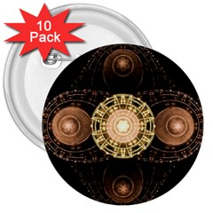 Fractal Design Pattern Fantasy 3  Buttons (10 Pack)