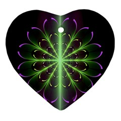 Fractal Purple Lime Pattern Ornament (heart)