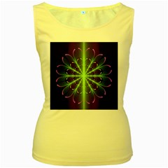 Fractal Purple Lime Pattern Women s Yellow Tank Top