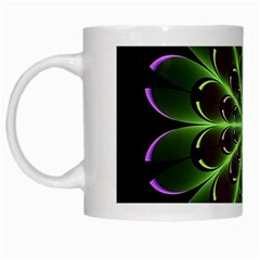 Fractal Purple Lime Pattern White Mugs