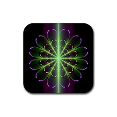 Fractal Purple Lime Pattern Rubber Coaster (square)