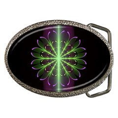 Fractal Purple Lime Pattern Belt Buckles