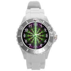 Fractal Purple Lime Pattern Round Plastic Sport Watch (l)