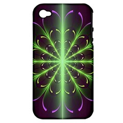 Fractal Purple Lime Pattern Apple Iphone 4/4s Hardshell Case (pc+silicone)