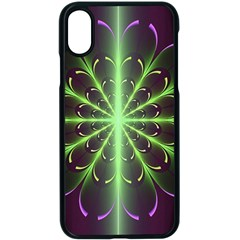 Fractal Purple Lime Pattern Apple Iphone X Seamless Case (black)