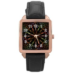 Fractal Colorful Pattern Texture Rose Gold Leather Watch