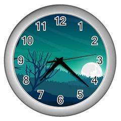 Landscape Wallpaper Background Wall Clock (silver)