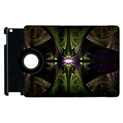 Fractal Green Tin Pattern Texture Apple Ipad 2 Flip 360 Case by Wegoenart